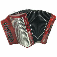 Alacran 31 Button 12 Bass Button Accordion GCF With Straps And Case, Red Pearl