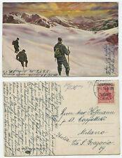 09266 - Bergsteiger im Schnee - AK, gelaufen Berlin 12.4.1910 nach Milano