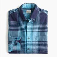 New J Crew Stretch Secret Wash Shirt Button Down Long Sleeve Plaid Blue NWT