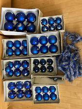 Weihnachtsschmuck Kugeln 50 Stück hochwertiges Konvolut aus Glas handbemalt BLAU