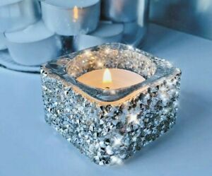 Silver Candle Tea Light Holder Glass Crushed Diamond Stunning Candle Gift