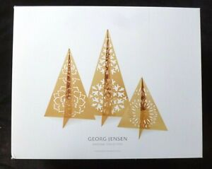 GEORG JENSEN Ice flower Trees GOLD PLATED CHRISTMAS TREE TABLE DECORATIONS x 3