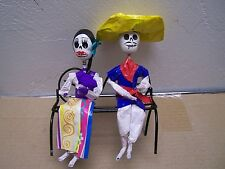 Day of the Dead Papier Mache Skeleton Couple on Park Bench #2 - Mexico