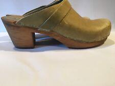 Sanita Danish Clogs, Open Back Heels, Celery Green Leather, Wood Soles