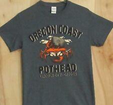 """Tee Shirt, Oregon Coast, """"Pot Head"""", Lincoln City, Oregon, Gray, Men's Small"""