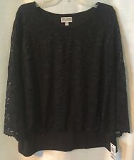 JM Collection NWT Women's Plus Size 1X Blouse Black Lined Lace 3/4 Sleeves