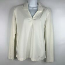 CC Filson Womens White Long Sleeve V-neck Stretch Polo Shirt Top Size S