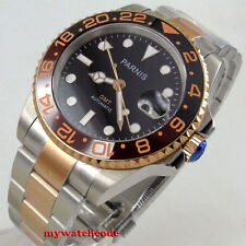 40mm PARNIS black dial Sapphire glass SUB ceramic bezel GMT automatic mens watch