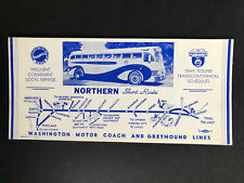 Washington Motor Coach System & Greyhound Lines Northern Short Route Sales Card