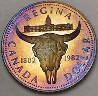 1982 CANADA SILVER DOLLAR PROOF COLOR BU TONED UNC FLAWLESS GOLDEN BLUE GEM (DR)