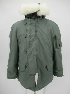 P4446 VTG US ARMY Men's Type N-3B Fur Collar Extreme Cold Military Parka Size S