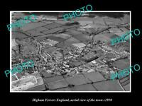 OLD LARGE HISTORIC PHOTO HIGHAM FERRERS ENGLAND AERIAL VIEW SHOWING TOWN 1950 1