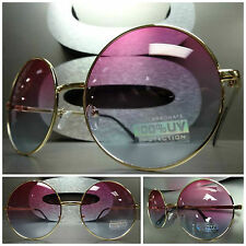 OVERSIZE EXAGGERATED VINTAGE SUN GLASSES Round Gold Wire Frame Pink & Blue Lens