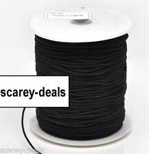10 METERS 1mm thick BLACK COTTON COVERED ELASTIC THREAD   1ST CLASS POST