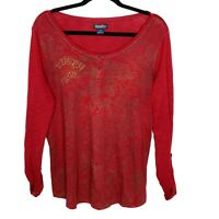 Lucky Brand Red Floral Scoop Neck Roll Tab Long Sleeve Henley T-Shirt Size XL