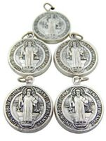 Lot of 5 Silver Saint Benedict Protection from Evil Sacramental Devotion Medal