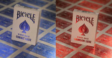 2 Decks Bicycle Metal Luxe Rider Back Playing Cards Crimson Red and Cobalt Blue