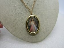 """Vintage Jesus Cameo Style Necklace, 24"""", Gold Tone, 1960's-1970's"""