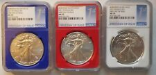 2017-W BURNISHED SILVER EAGLE NGC MS 70 SET RED WHITE & BLUE  LABELS FDOI RARE