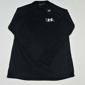 Under Armour Mens Long Sleeve  chest Logo Velocity Shirt 1366783-001 Jet Black