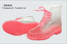 Women's transparent jelly rain shoes low heels water shoes galoshes ankle boots