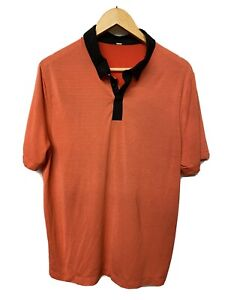 Lululemon Men's Coral/Blk Polo Size L Short Sleeve Silverescent