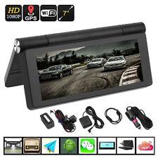 "WIFI HD 1080P 7"" Android Car Dual Camera Rear View DVR Recorder + GPS Navigator"