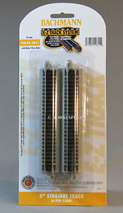 BACHMANN N SCALE E-Z TRACK 5 INCH STRAIGHT PACK (6) PCS Nickel Silver NS 44811