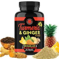 Turmeric Pills w Curcumin & Ginger Maxx Capsules w. Black Pepper, Joint Support