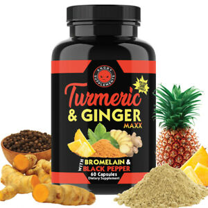 Turmeric Curcumin with Ginger Pills, Maxx Strength Capsules, Joint Support, 60ct