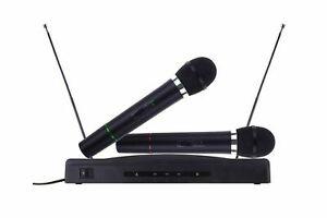 Kit coppia microfoni wireless base ricevitore professionale karaoke festa