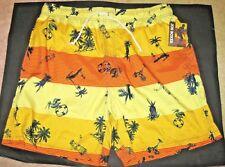NWT Joe Boxer Swim Bathing Suit Trunks Shorts 4 Pockets Yellow Orange Hawaii L
