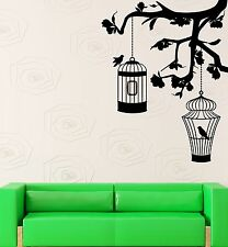 Wall Sticker Vinyl Decal Cage Bird Tree Branches Decor Living Room (ig1251)