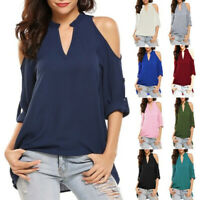 Women V Neck Cold Shoulder T Shirt Casual Tee Solid Blouse Long Sleeve Loose Top