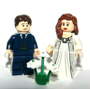 LEGO Flesh Wedding Minifigure Bride Brown Hair Groom Blue Suit Reversible Heads