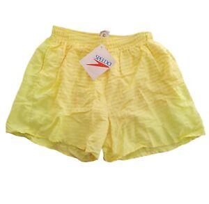 Vintage Speedo Mens Medium Swim Shorts Trunks 80s 90s Neon Yellow Ombre