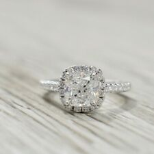 2 CT Cushion Cut Brilliant Diamond Halo Engagement Wedding Ring 14k White Gold