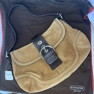 NEW Coach Soho Suede Hazel Small Flap Hobo Bag W/Dust Bag F10918 NWT Rare Find