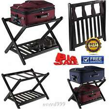2 Rack Luggage Wood Shelf Tier Stand Folding Storage Holder Suitcase Bag Travel
