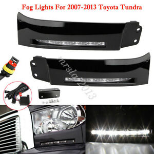Black Bumper Built-In LED DRL Car Driving Fog Light For Toyota Tundra 2007-2013