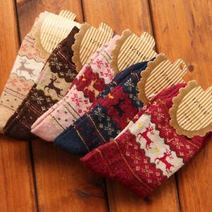 5/10 pairs Deer Mongolia Cashmere Rabbit Hair Women's Socks Warm Wool Cartoon