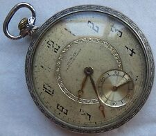 Dubois Chaux de Fonds Pocket Watch open face silver case 47 mm. in diameter
