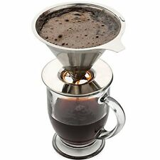 Stainless Steel Drip Coffee Filter Reusable Pour Over Single Serve Cup Brewer
