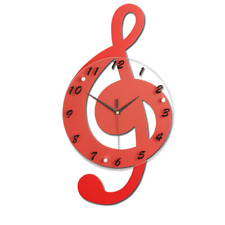"3D Red Music Musical Design Decor Wall Clock W/Free Wall Hooks 20.5""L 11.4""W"