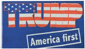 Trump America First Blue Premium 68D Woven Poly Nylon 5x8 5'x8' Flag Banner
