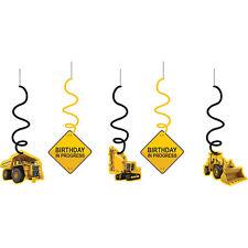Construction Zone Swirl Hanging Decoration Cutouts - 5ct
