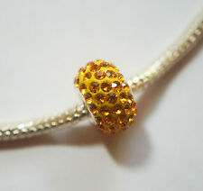 1 Sterling Silver Charm Bead with Swarovski Crystal Elements - Sun Yellow - 10mm