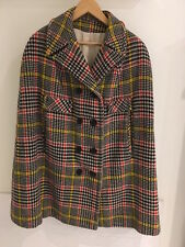 Plaid Tweed Dee Dee Deb Wool Vintage Cape - Medium Great Condition - 100% Wool