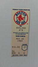 Ticket for A's at Boston Red Sox, May 30, 1989-Dwight Evans Homer