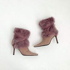 Nine West Purple Leather Suede Faux Fur Fun Square Toe Ankle High Heel Boots 6